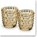 Lalique Mossi Votives Gold Luster, Set of Two