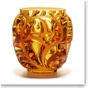 "Lalique Tourbillons 8 1/8"" Amber Vase, Limited Edition"