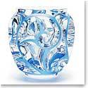 """Lalique Tourbillons 8 1/8"""" Blue Vase, Limited Edition"""