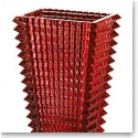 Baccarat Eye Large Rectangular Vase, Red