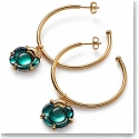 Baccarat B Flower Hoop Earrings, Green Mordore and Vermeil