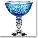 Kosta Boda Red Rim Brains Blue Footed Bowl