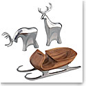 Nambe Christmas Sleigh with 2 Reindeer, 3 Piece Set