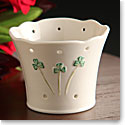 Belleek China Shamrock Pierced Votive